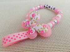 Personalised Beautiful butterfly In pink Dummy Clip for reborn dolls