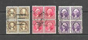 1932 USA, 3 Blocks of 12 Stamps, George Washington, FU