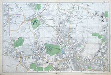 Original Antique Map of LONDON - MUSWELL HILL, PALMERS GREEN, HORNSEY  -  1904