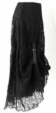 Lagenlook black LACE Victorian steampunk x-long hitch skirt 14/16 NEW Boho/Goth