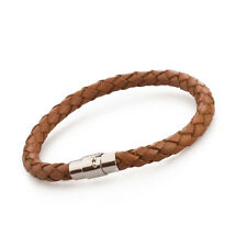 Men Women's Braided Leather Stainless Steel Magnetic Clasp Bracelet Brown