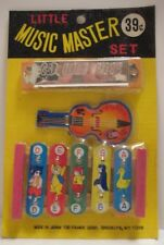Old 1950s Store Stock Musical Instruments in PKG Whistle Harmonica Xylophone