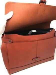 NWT 100% Coach Men's Hudson Terracotta Messenger Bag Natural Soft Leather F23204
