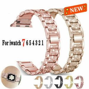 Bling Stainless Steel Strap For Apple Watch Series 7 41mm 45mm Metal iWatch Band