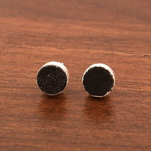 8 mm Round Stone Black Sugar Druzy Silver Electroplated Push-Back Stud Earrings