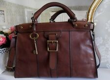 Fossil Vintage Revival Chocolate Brown Leather Satchel Holdall Shoulder Bag Key