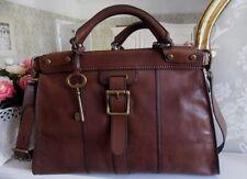 FOSSIL VINTAGE Revival Marrón Chocolate Bolsa De Viaje Bolso de hombro de cuero bolso con llave