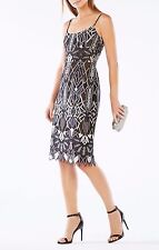 NEW BCBG MAX AZRIA BLACK SILVER COMBO ALESE DECO LACE DRESS WPX67I50/L440A SZ 6
