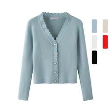 Womens Knitted Slim Fit Cardigan Sweater Jacket V Neck Casual Knitwear Outwear L