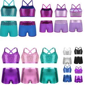 Girls Dance Outfit Crop Tops Bra+Short Kid Sport Suits Gymnastics Tights 2-piece