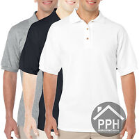 3 Pack White Black Mens Polo Shirt Gildan Dry Blend Brand New Work Plain Sale