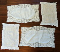 4 Vintage Lace Handkerchiefs Ladys Hankies Embroidered FLAW