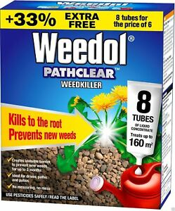 Weedol Pathclear Long lasting Weedkiller for Paths & Drives 6 Tubes +2 Free