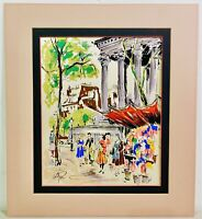 Mid Century Painting on Silk Paris France Street Scene Vendor GOUACHE Signed