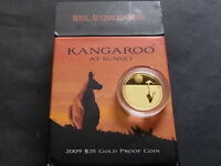 Australia.  2009 25 Dollars - Kangaroo at Sunset - 1/5oz Gold... Proof..  Cased