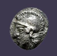 Archaios | Greek Aeolis Elaia Athena / Wreath Hemiobol | Silver |