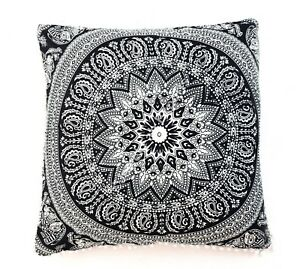 Indian Handmade 100% Cotton Base Tropical Pillow Sofa Back Cushion Cover Set 2