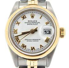 Rolex Datejust Ladies 2Tone 18K Yellow Gold & Steel Watch White Roman Dial 69163