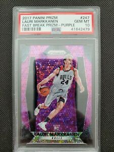 2017-18 LAURI MARKKANEN PANINI PRIZM FAST BREAK PURPLE ROOKIE RC #46/75! PSA 10!