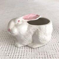 Vintage White & Pink Glazed Ceramic Bunny Rabbit Planter Container