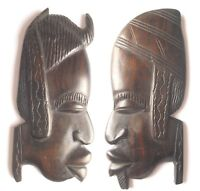 African Sculpture Profile Tribal Woman & Man Hand Carved Ebony Wood  Wall Art