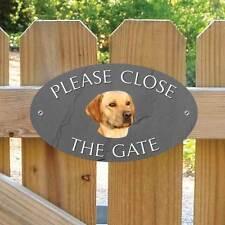 Yellow Labrador Please Close The Gate Sign, Golden Lab Dog Shut the Gate Plaque