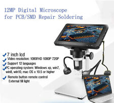 "1200X Digital Stereomikroskop 7"" HD Microscope Soldering  Phone Repair + Stand"