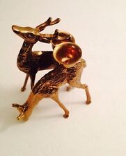 antique brass deer and doe figurine candle holders (lot of 2) approx 6 in. tall
