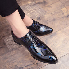 Mens Pointed Toe Dress Shoes Lace Up Patent Leather Oxfords Floral Printed Shiny