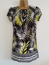 NEW Ex Wall*s12-20 Palm Print Border Hem Black White Yellow Tunic Top Blouse