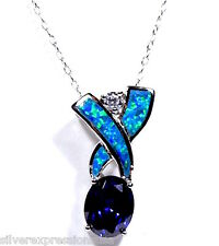 Tanzanite & Blue Fire Opal Inlay 925 Sterling Silver Pendant Necklace 18'' Chain