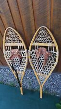 """OLD Snowshoes 40"""" Long x 14"""" Wide with Leather Bindings Great for DECORATION"""
