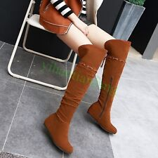 Womens Zip Over The knee Boots Suede Warm Wedge Heel Casual Hot College Chic New