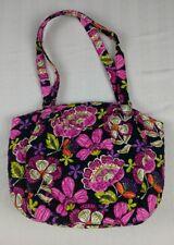 Vera Bradley Pirouette Pink Glenna Black Satin Interior Shoulder Bag Large Purse