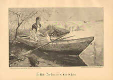 Pretty Lady, Rowboat, Dragon Flies, Lake, Vintage 1891 German Antique Art Print