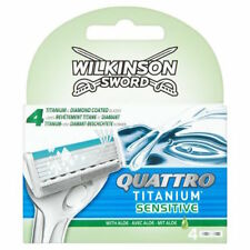 Wilkinson SWORD QUATTRO TITANIUM sensible Recarga Cartuchos 4 Pack de hoja de afeitar