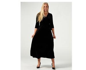 Ronni Nicole Velvet Faux Wrap Maxi Dress Black Size 10 BNWT
