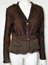ALBERTO MAKALI Romantic Jacket S Brown Taffeta Lace Fitted Peplum Steampunk Top