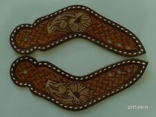 AW LEATHER GOODS HAND MADE ONE PIECE SHERIDAN STYLE WESTERN SPUR STRAPS