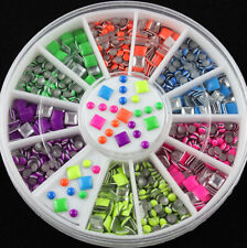 6 Colors Round& Square Neon Stud Rhinestone Nail Art DIY Decoration 2 Styles