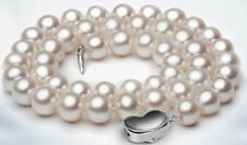 "HUGE 18""11-12MM NATURAL SOUTH SEA GENUINE WHITE PEARL NECKACE 14K"