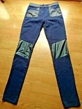 ASOS Womens Jeans Pants Size 4 Skinny Leg Dark Blue Faux Leather Patches