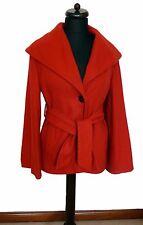Topshop Arancione Bruciato misto lana con cintura Cappotto invernale maniche svasate 12 EU 40