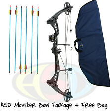 "ASD Black Monster Compound Archery Bow 30-55Lbs 19-29"" PACKAGE 1 W/ Free Bow Bag"