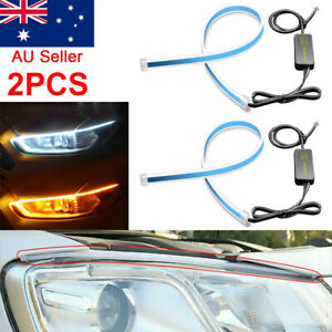 2x60cm Sequential LED Strip Indicator Turn Signal DRL Daytime Running Lights