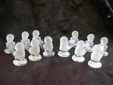 BACCARAT ANTIQUE FRENCH FROSTED CRYSTAL KNIVE RESTS,CHERUB S HEADS,SET OF 6.