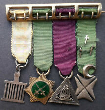More details for masonic allied degrees miniature jewel / medal group of 4 (mounted on bar)
