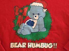 Sz Large Christmas Bear Humbug Grumpy Care Bear Red Sweatshirt Womens LG Xmas