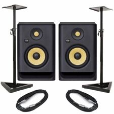 KRK Rokit RP5 G4 Pair Active DJ Studio Monitor Speakers With Pro Stands & Cables