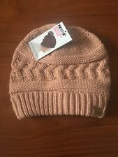 Ponytail Beanie David and Young Winter Women's Knitted High Bun Hat Hole Pink